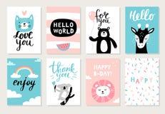 Reeks leuke hand-drawn dieren op prentbriefkaaren: de kat, draagt, giraf, koala, leeuw en verschillend element stock illustratie