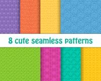 Reeks leuke heldere naadloze patronen Abstracte geometrisch Stock Afbeelding
