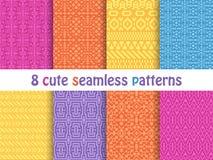 Reeks leuke heldere naadloze patronen Abstracte geometrisch Royalty-vrije Stock Afbeeldingen