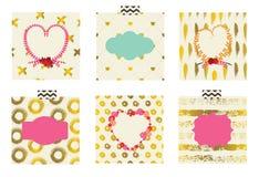 Reeks leuke kaarten voor het vieren van de Dag van Valentine ` s Stock Afbeeldingen