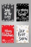 Reeks Leuke Kerstkaarten Affichesinzameling Vectormalplaatje voor groetkaarten Stock Fotografie