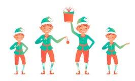 Reeks leuke Kerstmiself Vector illustratie Weinig kind Stock Afbeeldingen