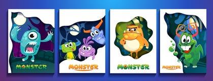 Reeks leuke kleurrijke monsterkaarten De affiches van beeldverhaalmonsters voor vector illustratie