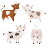 Reeks leuke koeien royalty-vrije illustratie