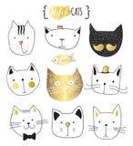 Reeks leuke krabbelkatten Schetskat Katten met de hand gemaakte druk stock illustratie