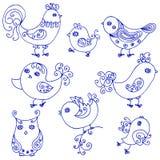 Reeks leuke krullende vogels Royalty-vrije Stock Fotografie