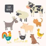 Reeks leuke landbouwbedrijfdieren - hond, kat, koe, varken, kip, haan, eend, geit Stock Afbeeldingen