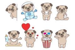 Reeks leuke lineaire die pugs op witte backround wordt geïsoleerd Pug in liefde, royalty-vrije illustratie