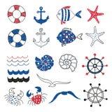 Reeks leuke mariene decoratieve die elementen op wit worden geïsoleerd Royalty-vrije Stock Afbeelding