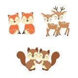 Reeks leuke paar bosdieren Vossen, Herten, Eekhoornsbeeldverhaal royalty-vrije illustratie