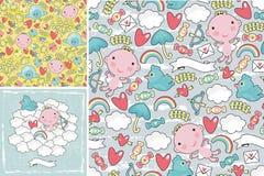 Reeks leuke patronen met engelen in de hemel Stock Afbeelding