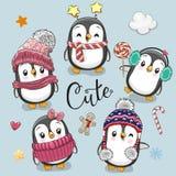 Reeks leuke Pinguïnen van beeldverhaalkerstmis royalty-vrije illustratie
