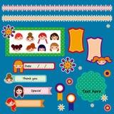 Reeks leuke plakboekelementen. vector illustratie Royalty-vrije Stock Afbeeldingen