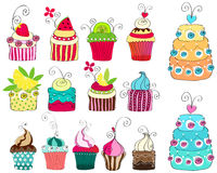 Reeks leuke retro cupcakes Stock Afbeeldingen