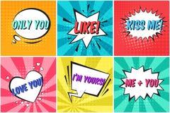 Reeks leuke retro de toespraakbellen van kleurenvalentijnskaarten stock illustratie