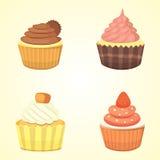 Reeks leuke vector cupcakes en muffins Kleurrijke cupcake voor het ontwerp van de voedselaffiche Stock Afbeeldingen