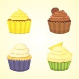 Reeks leuke vector cupcakes en muffins Kleurrijke cupcake voor het ontwerp van de voedselaffiche Stock Afbeelding