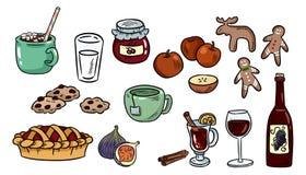 Reeks Leuke Voedselkrabbels De stickers van het Hyggevoedsel voor ontwerpers en botebooks De cacao, pastei, overwoog wijn, gember stock illustratie
