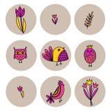 Reeks leuke vogels en tulpen in krabbelstijl royalty-vrije illustratie