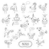 Reeks leuke vogels in verschillende acties Royalty-vrije Stock Afbeelding