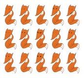 Reeks leuke vossen, met verschillende emoties op gezicht Stock Foto