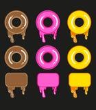 Reeks leuke zoete kleurrijke donuts en kaders Royalty-vrije Stock Foto's