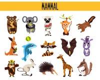Reeks Leuke zoogdieren die van beeldverhaaldieren in verschillende delen van de wereldbossen, het overzees en de tropische wilder stock illustratie