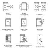 Reeks Lijn/Overzichts Mobiele Pictogrammen vector illustratie