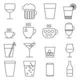 Reeks lijnpictogrammen met dranken Stock Afbeeldingen
