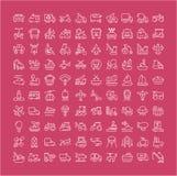 Reeks Lijnpictogrammen van Vervoer Stock Afbeeldingen