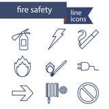 Reeks lijnpictogrammen voor brandveiligheid Stock Foto