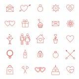 Reeks lijnpictogrammen voor de dag of het huwelijk van Valentine Royalty-vrije Stock Foto