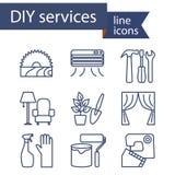 Reeks lijnpictogrammen voor DIY-de diensten Royalty-vrije Stock Foto's