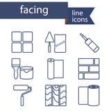 Reeks lijnpictogrammen voor DIY, het eindigen materialen vector illustratie