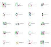 Reeks lineaire abstracte emblemen Werveling, cirkel Stock Foto