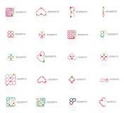 Reeks lineaire abstracte emblemen Werveling, cirkel, oneindigheidslijn en andere concepten De malplaatjes van het Logotypemerk Stock Afbeeldingen