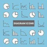Reeks lineaire diagrampictogrammen voor ontwerp Royalty-vrije Stock Fotografie