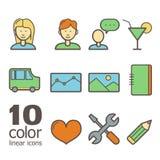 Reeks lineaire kleurenpictogrammen Royalty-vrije Stock Foto