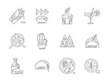 Reeks lineaire Mexicaanse voedselpictogrammen Stock Afbeeldingen