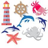 Reeks lineaire pictogrammen op de marine Stock Fotografie