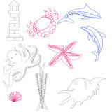 Reeks lineaire pictogrammen op de marine Royalty-vrije Stock Fotografie