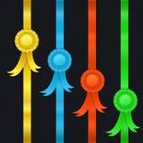 Reeks linten, medailles Stock Afbeelding