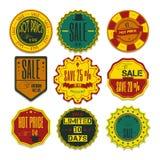 Reeks Linten, Stickers, Etiketten Vector Reeks Linten, Sticker Stock Fotografie