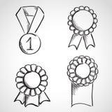 Reeks linten van de schetsprijs Royalty-vrije Stock Afbeeldingen