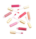 Reeks lipglossen met verschillende kleuren Royalty-vrije Stock Foto's
