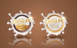 Reeks luxeontwerpetiketten in gouden kleur die op achtergrond wordt geïsoleerd Wervelings dynamische plons van melk Wit chocolade stock illustratie