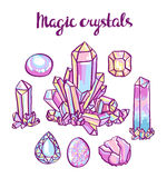 Reeks magische kristallen Juwelierreeks Royalty-vrije Stock Fotografie