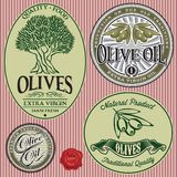 Reeks malplaatjes met olijfboom en olie Royalty-vrije Stock Foto