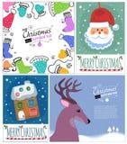 Reeks malplaatjes van de Kerstmisprentbriefkaar stock illustratie