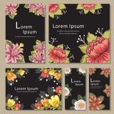 Reeks malplaatjes van de uitnodigingskaart met bloem Stock Afbeelding